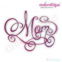 Mom Calligraphy Script Embroidery Design Small by Embroitique, $1.99