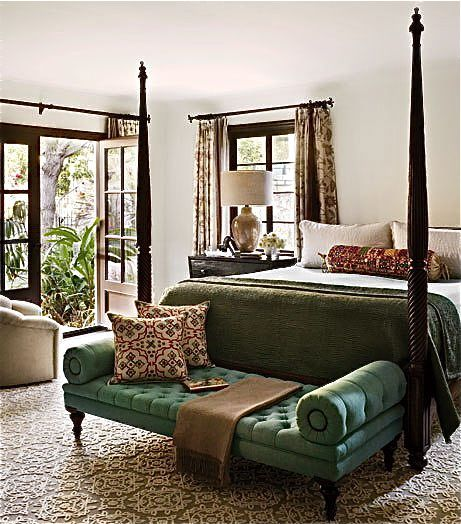 Raj Style Sage Green Velvet Tufted Bench For The End Of The Bed British Colonial Style