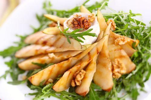 ... creamy goat cheese dressing and sweet apple-walnut vinaigrette. Lovely