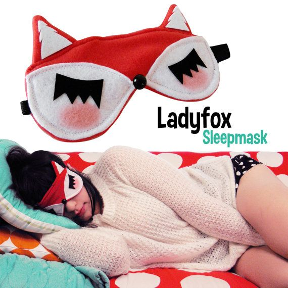 Lady FOX Sleep Mask Red Sleepmask by emandsprout on Etsy, $18.00