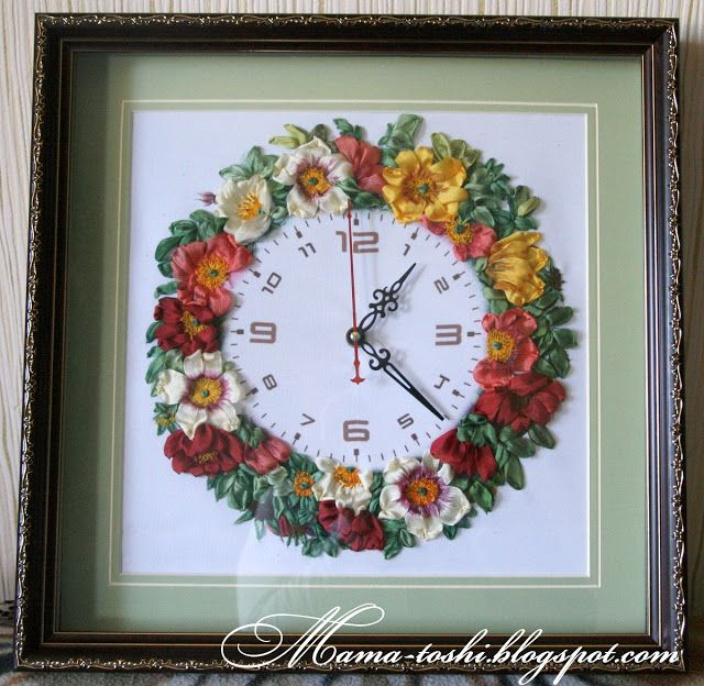 Beautiful clocks with ribbon embroidery