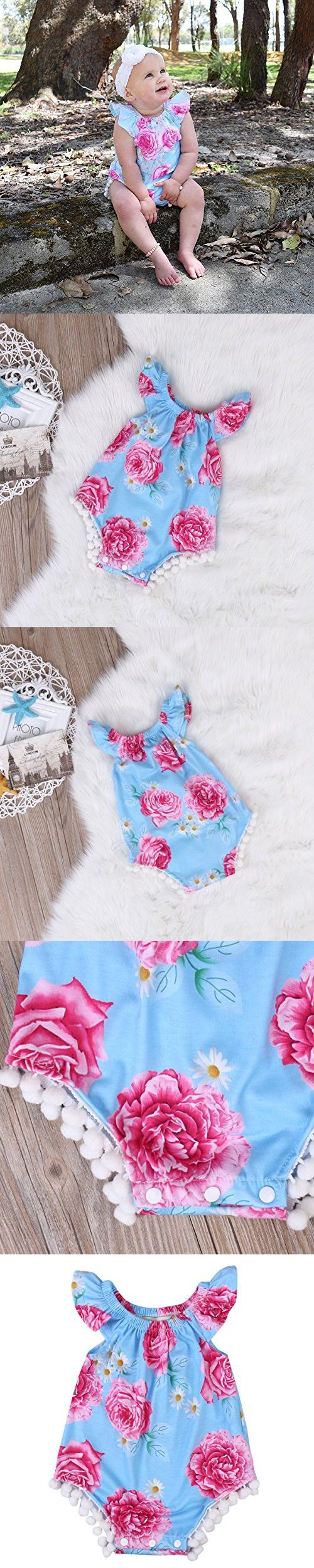 Newborn Baby Girl Clothes Floral Romper Sleeveless Infant Jumpsuit Outfit (0-6 Months)