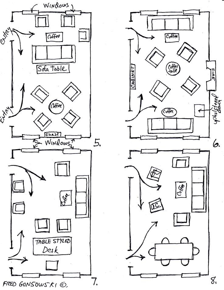 how to arrange furniture in a narrow living room | Living Room Furniture Layouts.   Just b/c you never know