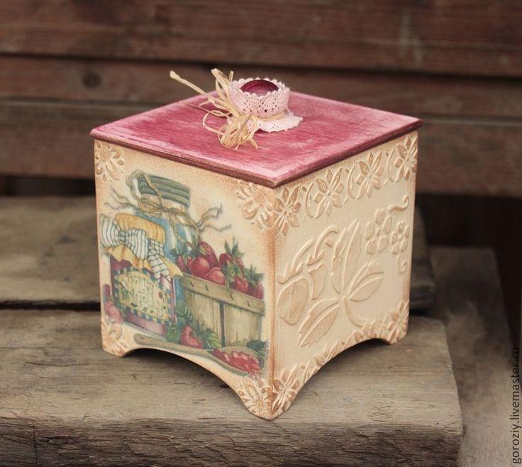 """Купить Сахарница- конфетница """"Клубничное варенье"""" - розовый, сахарница, конфетница, короб для хранения, короб для кухни"""