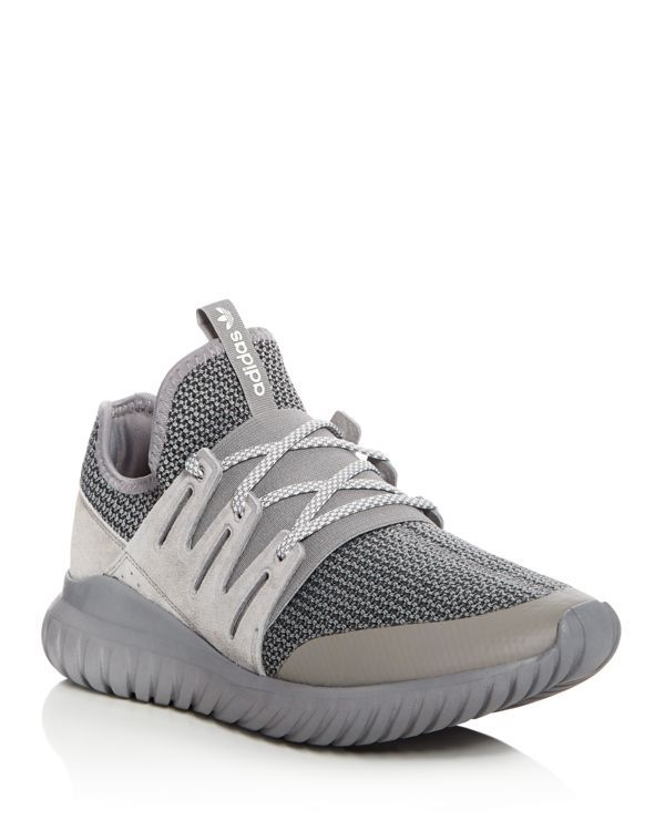 Adidas Tubular Radial Lace Up Sneakers | Suede/textile/rubber | Imported | Fits small, order the next size up | Lace up closure  | Melange knit upper with sock like fit and suede overlay | Textile lin