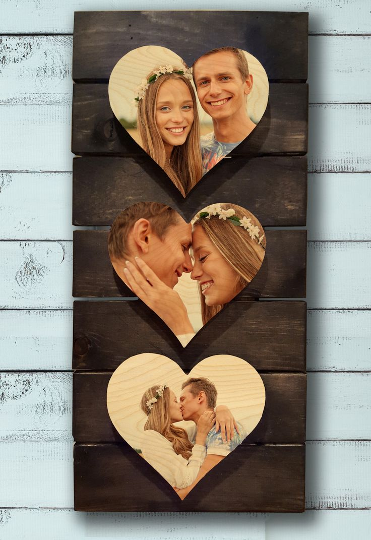 """3 x 8"""" Wooden Photo Hearts on Rustic Pallet. Photo Wood Shop Autumn Sale 35% off everything on site. Enter """"leavesarefalling"""" @ checkout."""