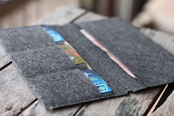 Felt Card Holder/Wallet insert for Midori styleTravelers Notebook // Credit Card…