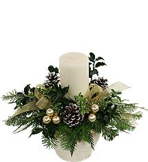 Frosted Pine Cones with White Candle