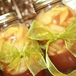Apples slices in a jar