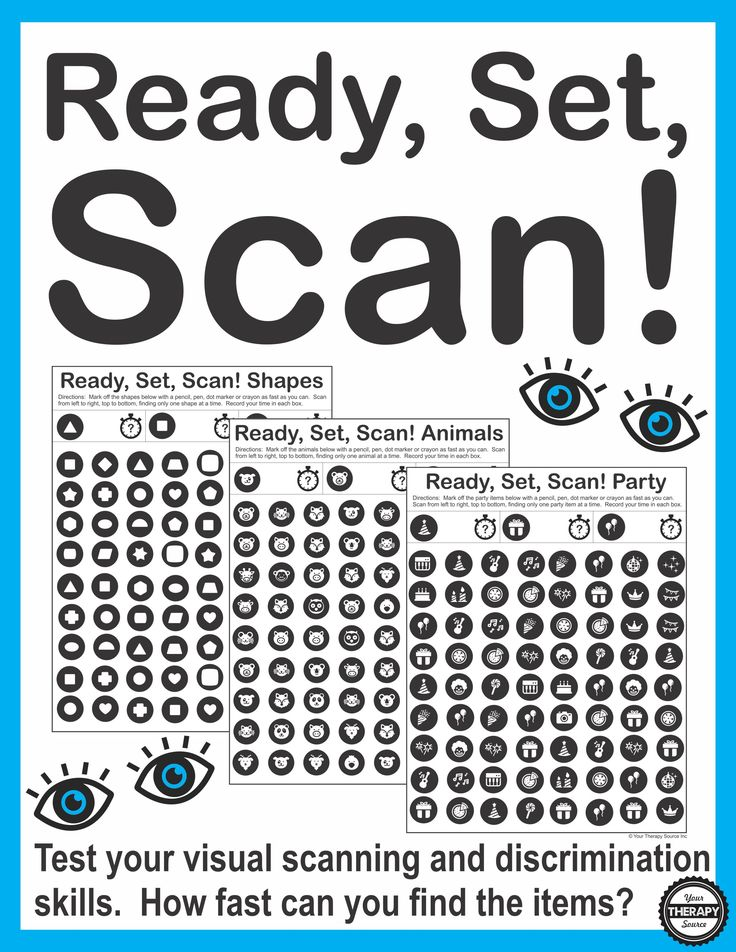 Ready, Set, Scan digital download includes 12 visual scanning and discrimination activities. How fast can you scan, find and mark each item?
