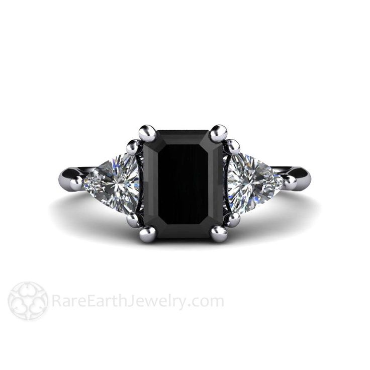 Black Diamond Engagement Ring and Wedding Band Vintage Black Diamond Ring 3 Stone with Trillion Diamonds in Platinum by RareEarth on Etsy https://www.etsy.com/ca/listing/259735707/black-diamond-engagement-ring-and