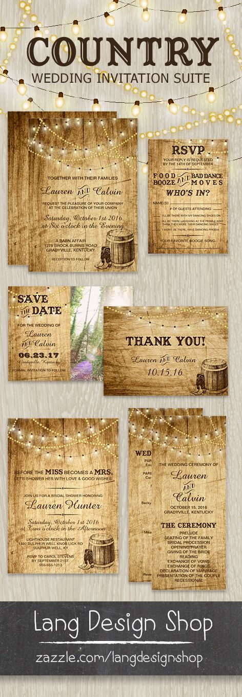 Country wedding invitation with cowboy boots, barrel and string lights over a wood background. Designed for a rustic wedding. Wedding invitation, RSVP, Thank You card, Information card, Bridal Shower invitation, Save the Date, Ceremony Program and more. Over 14 items in the collection and growing. All customized by you! And print via Zazzle. By LangDesignShop