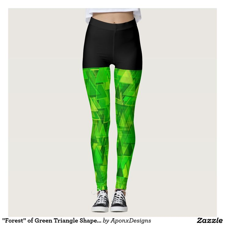 """""""Forest"""" of Green Triangle Shapes Pattern Leggings"""