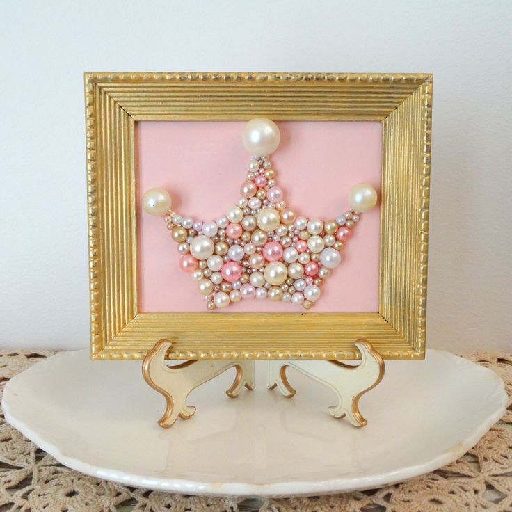 Pearl Princess Crown - Pink and Gold Nursery Art - Bead, Glitter Mosaic - Pastel Pink Framed Art - Gold Frame - Mermaid Crown - 3d Wall Art by berryisland on Etsy