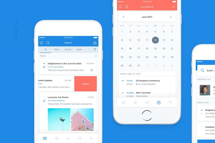 Email & Calendar UI/UX Kit (Sketch) by Petr Knoll on @creativemarket