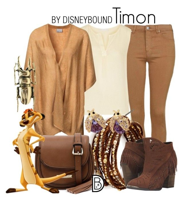 """Timon"" by leslieakay ❤ liked on Polyvore featuring Topshop, Kain, Chan Luu, Vero Moda, Cooper St, Not Rated, Betsey Johnson, MARTI, disney and disneybound"