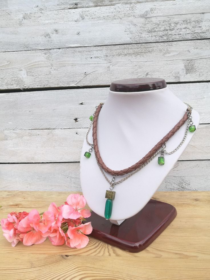 necklace leather green for her, retro, etno, unique silver boho hippie green gemstone by jkopiece on Etsy