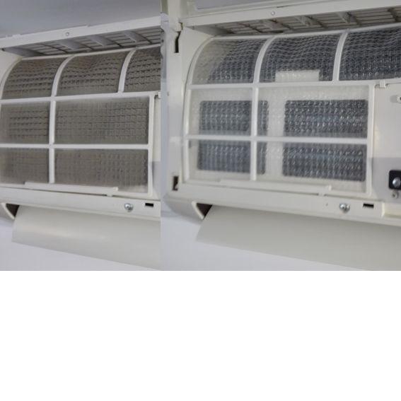 Curatare filtre aparat aer conditionat .  Diferenta intre un filtru curat si unul cu praf si bacterii .