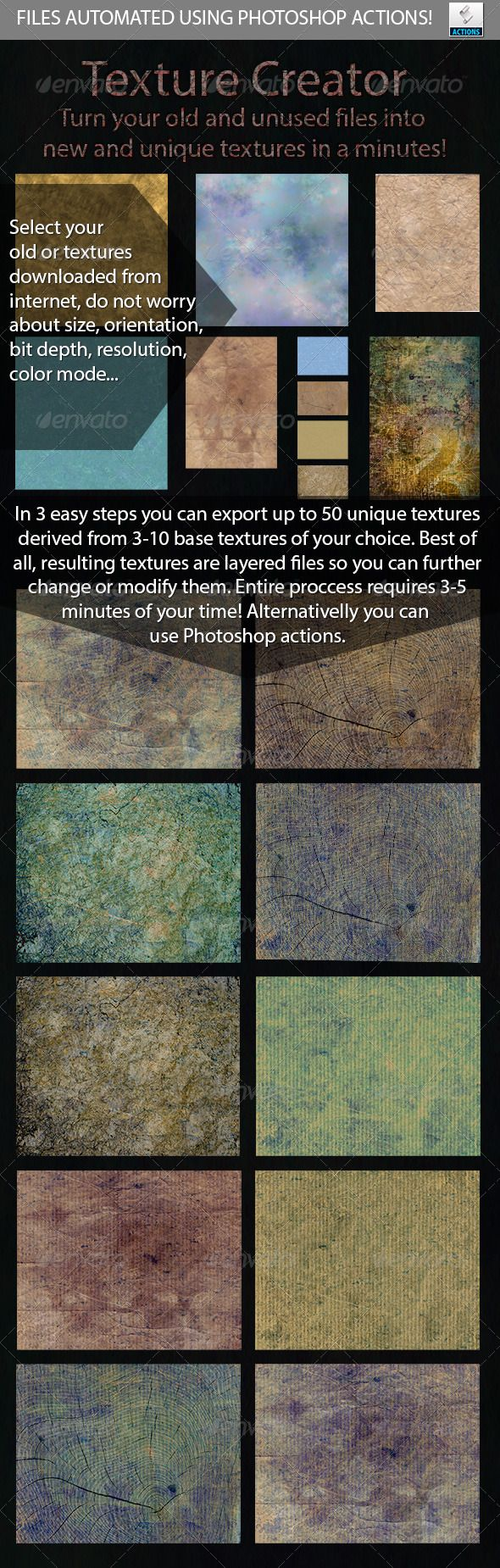 Automated Texture Creator  #GraphicRiver         This package will allow you to create your unique textures using some old or any textures you can download from internet. Once you understand how things work you will be able to generate up to 50 unique textures in a couple of minutes. Everything is automated and process is very easy to understand. I guess that most of you are familiar with Photoshop actions which are included in package and you an use them to quick generate your own unique…