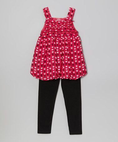 This Fuchsia Heart Bubble Tunic & Leggings - Toddler & Girls by Diva is perfect! #zulilyfinds