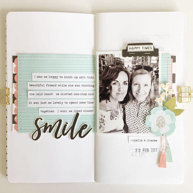 Smile Traveler's Notebook Spread by Sheree Forcier  @FelicityJane