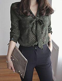 Polyester Grønn Tynn Langermet,V-hals Skjorte Trykt mønster Enkel Arbeid Kvinner