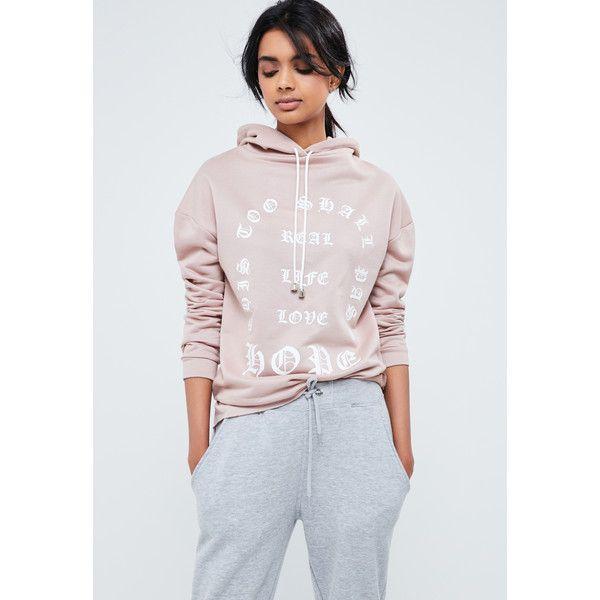 Missguided Longline Printed Sweatshirt ($36) ❤ liked on Polyvore featuring tops, hoodies, sweatshirts, nude, pink top, oversized sweatshirts, oversized tops, pink sweatshirts and longline sweatshirt