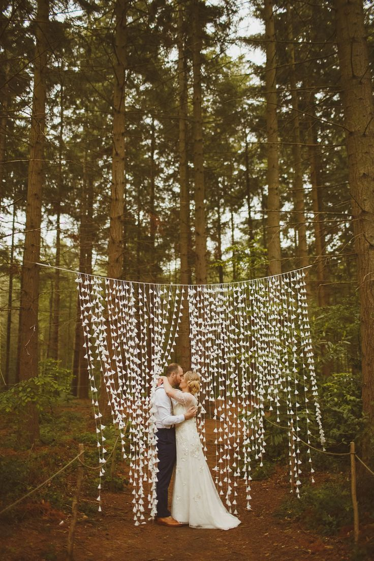 DIY Paper Cone Curtain | PapaKata Tent | Relaxed Wedding at Camp Katur Yorkshire | Jenny Packham Bridal Gown | White Lanterns | Ed Peers Photography | http://www.rockmywedding.co.uk/ann-marie-mark/