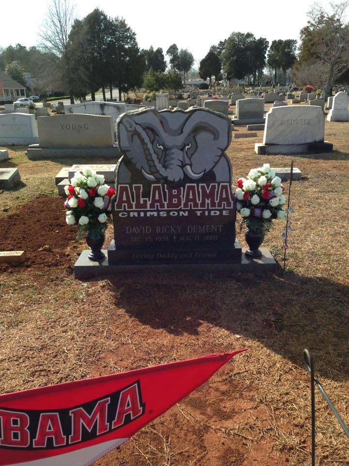 """THIS IS ABOUT AS DIE-HARD OF A BAMA FAN AS YOU ARE GOING TO GET!! THE MAN WHO PASSED AWAY MUST HAVE REALLY """"LOVED"""" THE CRIMSON TIDE & I'M SAYING """"HE REALLY LOVED BAMA FOOTBALL"""" AND THIS IS AWESOME """" A BAMA FOOTBALL MONUMENT!!"""" RTR!!"""