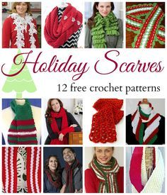 Fiber Flux: Holiday Scarves! 12 Beautiful & Free Crochet Patterns, X-mas, Christmas, #haken, gratis patroon 12x (Engels), sjaal, das, Kerstmis, winter, haakpatroon
