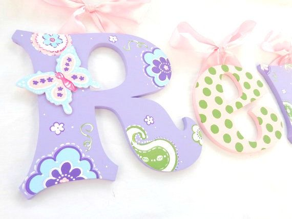 Sweet Lavender Butterfly Paisley Painted Letters, Ballet Pink Green Polka Dots Nursery Letters, Paisley Nursery Decor, Photo Prop Letters