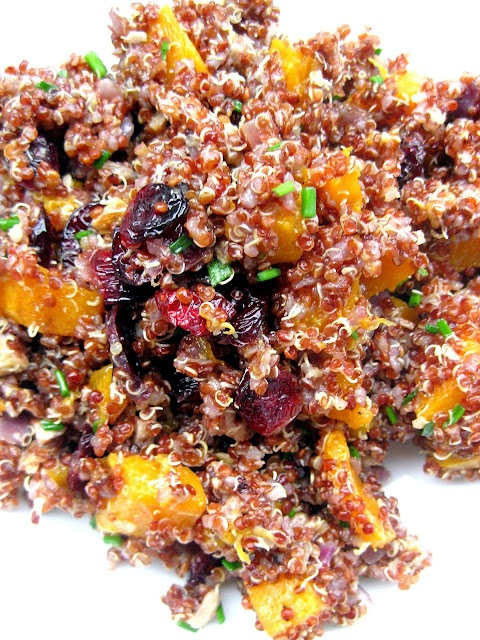 Red Quinoa with Roasted Butternut Squash, Cranberries, and Pecans