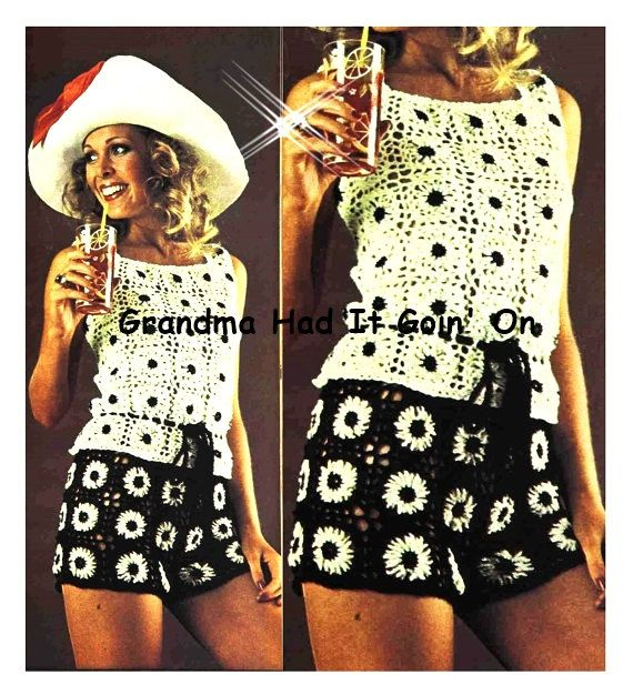 CROCHET PATTERN - Hip Hugger Shorts - Hippie Hot Pants - Peek a Boo Top - Vintage Pattern - PDF Instant Download - Sun Suit - Lacy Blouse