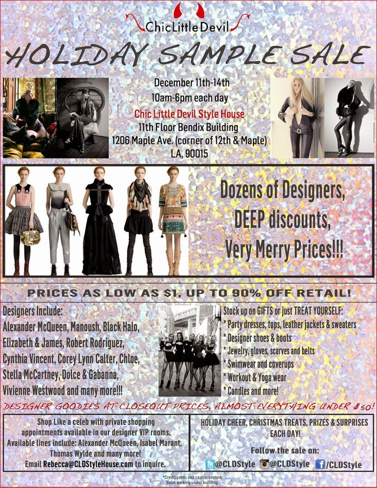 Shopping Los Angeles CLD Style House Holiday #SampleSale - My - sample guest list