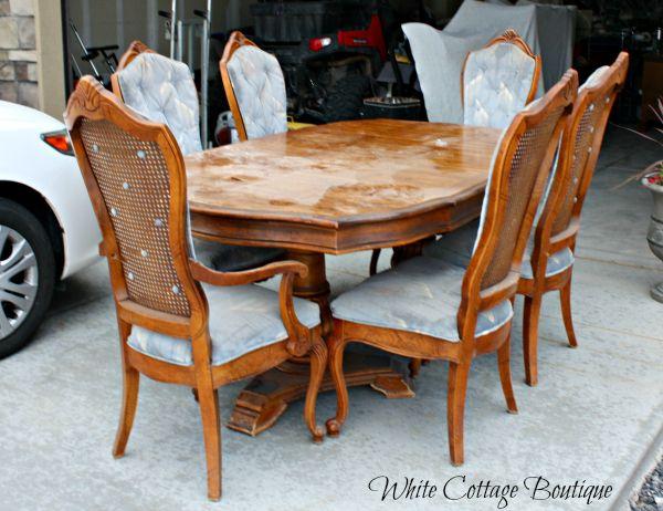 Restored Cane Dining Set Dining Table Dark Walnut Stain