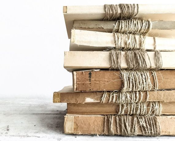 Set of 3 Unbound Vintage Books Wrapped in Twine, Farmhouse Decor  { details } Charming trio of wonderfully aged unbound vintage books wrapped & wrapped