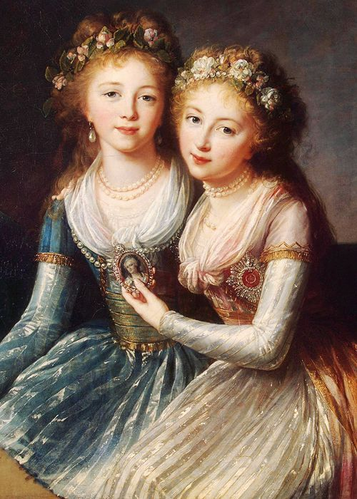 Alexandra and Elena Pavlovna of Russia by  Louise Élisabeth Vigée Le Brun, 1796