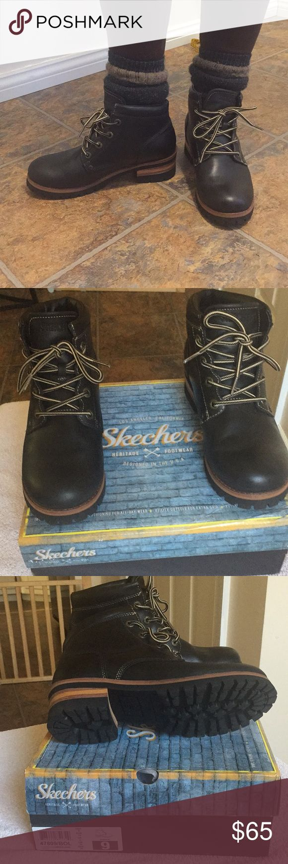"""Womens Sketchers Laramie 2 Lumberjack Boots These boots are so sharp. Fun and very comfortable even with thick wool socks. Black Oiled Smooth Leather 4 eye logger boot  Imported Leather, Rubber sole. Shaft measures approximately 5"""" from arch. Heel measures approximately 1.75"""" Platform measures approximately 0.75"""". Stacked rugged heel. I wore these about a half a dozen times. Has some wear but since they are oiled these will come out. Barely noticeable! Sketchers Shoes Ankle Boots & Booties"""