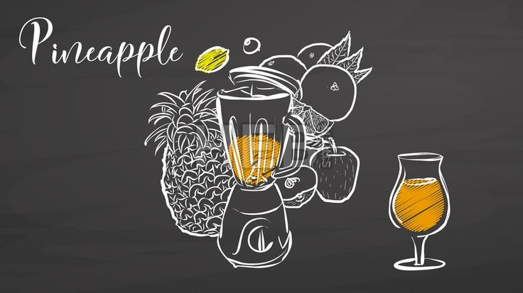 Pineapple smootie scene on chalkboard. Hand drawn healthy food sketch. Black and White Vector Drawing on Blackboard. ... ... by #Hebstreit