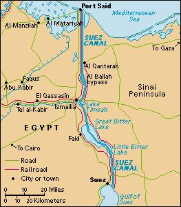 north africa map suez canal