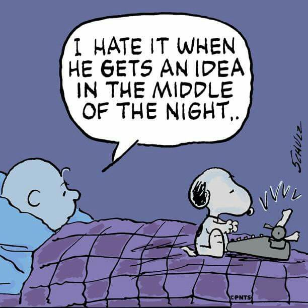 """I hate it when he gets an idea in the middle of the night"", Snoopy."