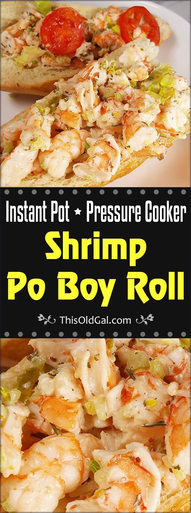Pressure Cooker Shrimp Po Boy {Shrimp Roll} is a cross between a Lobster Roll and a Po Boy.  Made in the New England Style, but with a New Orleans flair. via @thisoldgalcooks
