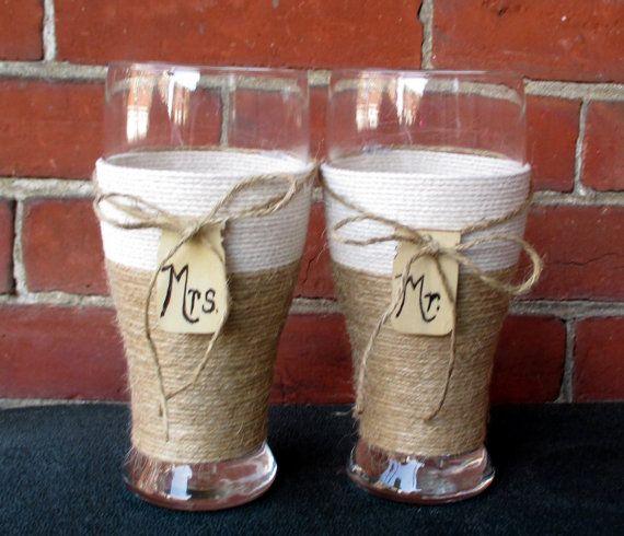 Rustic Wedding  Glasses / Country Wedding by CarolesWeddingWhimsy