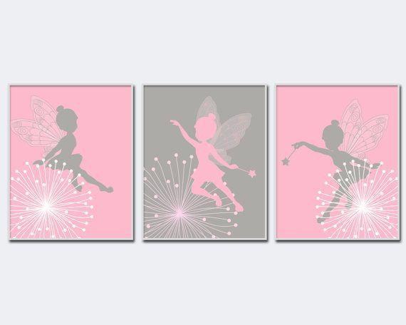 Hadas infantiles arte imprimir Baby niña rosa y gris por HopAndPop