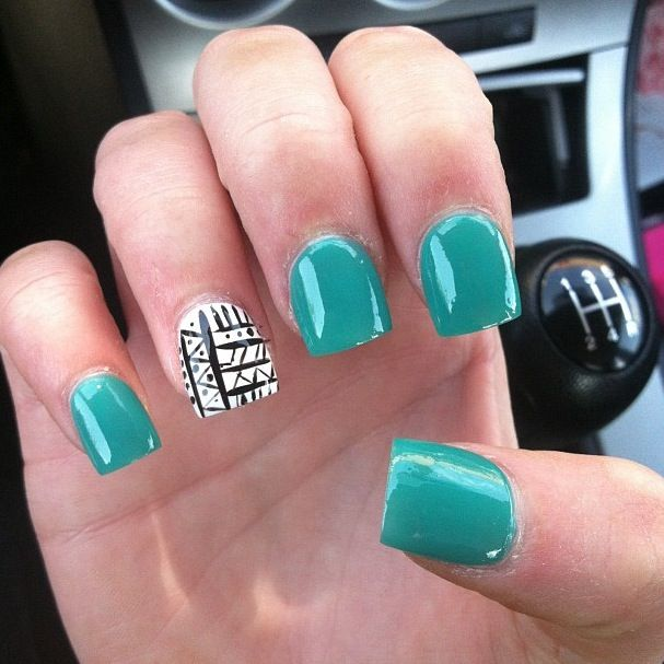 Teal nails with nail design - 207 Best Nail Designs Images On Pinterest Make Up, Hairstyles