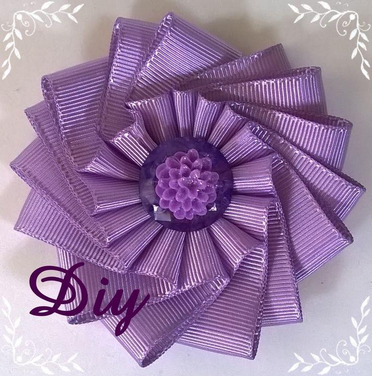 Flor de fita de gorgurão DIY  Ribbon flower
