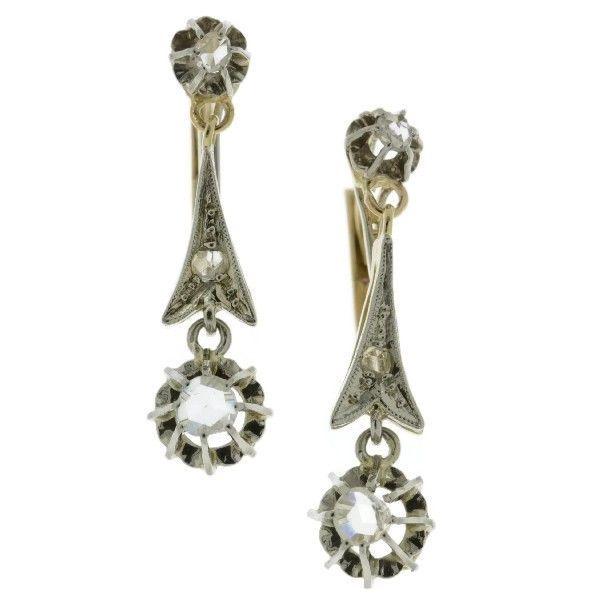 Online veilinghuis Catawiki: Tweekleurige gouden antieke oorbellen met roosgeslepen diamanten - 1925