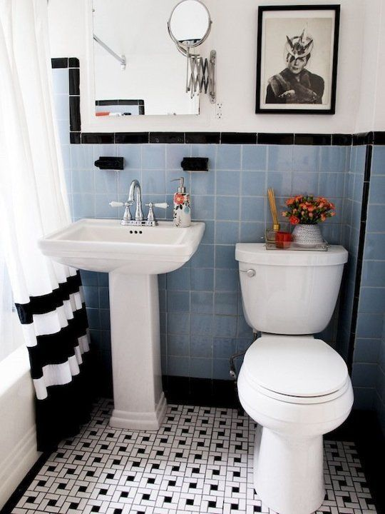 31 retro black white bathroom floor tile ideas and pictures - Bathroom Decorating Ideas Blue And White