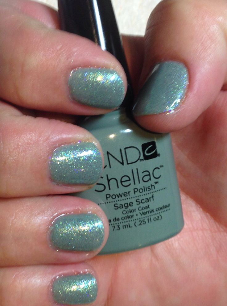 Cnd Shellac Sage Scarf With Cnd Additives Green Gold