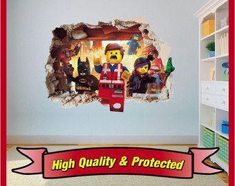 LEGO film Emmet gat in kunst aan de muur Stickers Decal Childrens slaapkamer jongens en meisjes